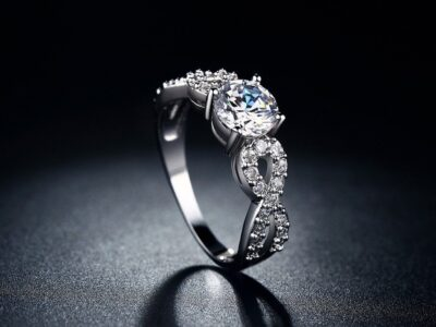Women White Gold Plated CZ Diamond Ring